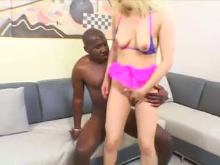 Blonde babe Aaralyn Barra has her bush blocked by Mandingos manaconda