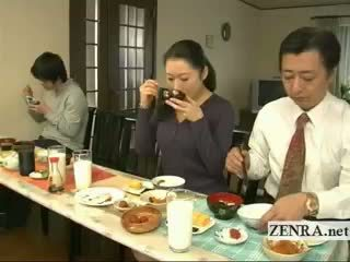 Subtitled ประหลาด ญี่ปุ่น bottomless ไม่ กางเกงใน ครอบครัว