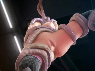 3D animated space girl fucked by tenta...