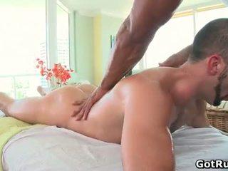 Muscular bald hunk massaž dude then
