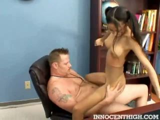 Skinny latina teen Alexis Love riding her profs co