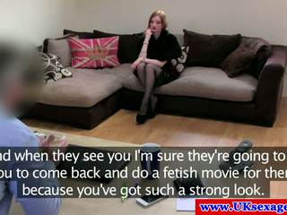 Redhead Brit masturbating at casting f...