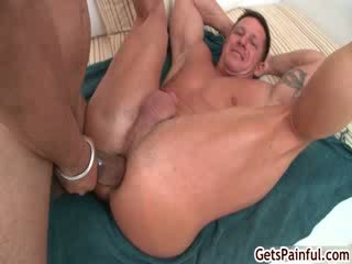 Mature muscle guy sucking ebony shaft 4 by getspainful