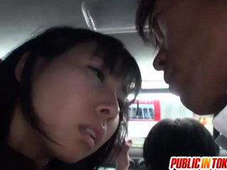Japanese pussy stimulated on the bus