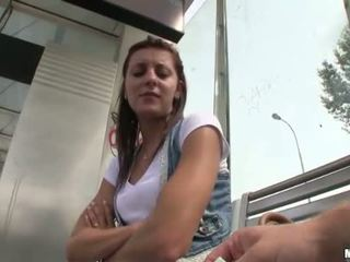 Real amateur girl payed for public sex