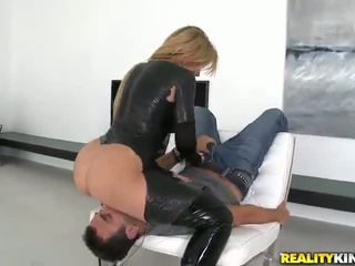 Curvy Aged In Naughty Leather Suit Is Screwing Big