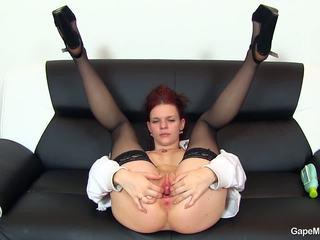 gaping, redhead, masturbation