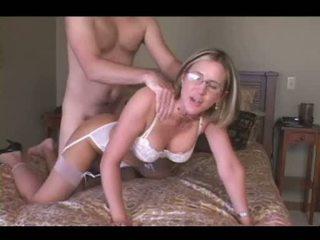 Sexy blonde wife dressed in white lingerie love blowjob Video