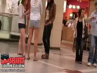 Gorgeous long legged girls in shorts let the excited crowd admire their Pretty hot bodies