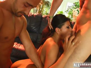 Holes stuffed by two horny guys for this cutie