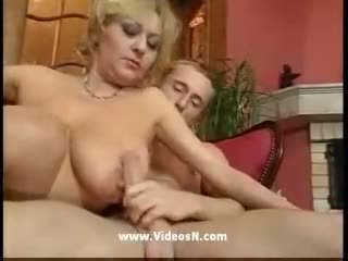 Young guy and old mom