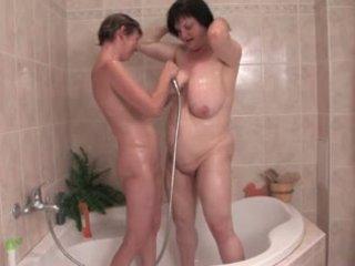 Saggy lesbians bathing