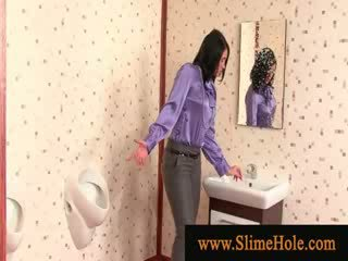 Slime showered brunette zuigen gloryhole lul