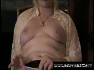 Blondie crossdresser Alice showing Boobs
