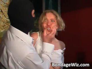Tied ब्लोंड gets आस spanked और टिट्स