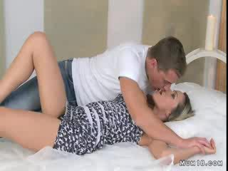 Busty blonde mom licked and fucked in bedroom