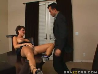 Hot brunette milf with big tits sucking huge thick cock