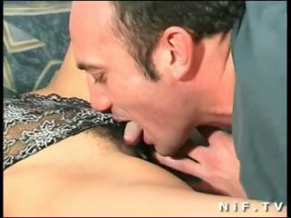 Hairy French slut gets a big cock in h...