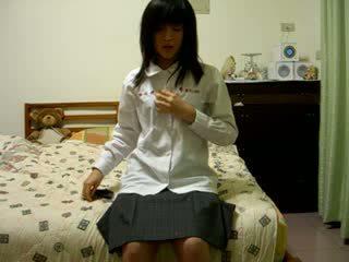 Matainas ķīnieši meitene par kamera video