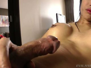 This Horny Asian Ladyboy Shows How She Loves Her Nice Cock