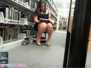 Naughty Babe Masturbates In The Library
