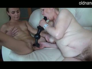 Old oma and young girl fingering and toys playing