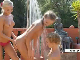 Outdoor Lesbian trio 3 blonde teens Video