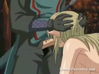 Winsome Blonde Anime Temptress With Big Breasts Gets Mouth Fucked In The Park