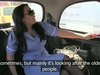 Nurse In Her Uniform Fucked In Fake Taxi
