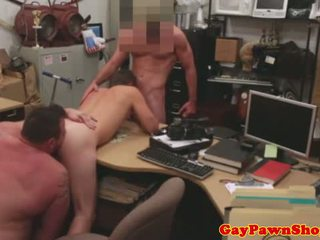 Gay straight amateur spitroasted in pawn shop