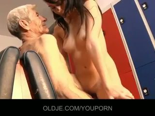 Young innocent girl have sex with old cock in dressing room
