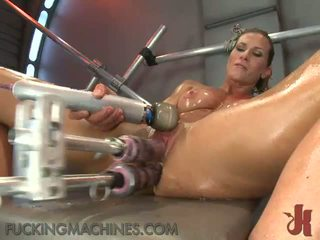 Sexy Nymph Works Up A Sensuous Sweat As She Has Made Love By A Shagging Device