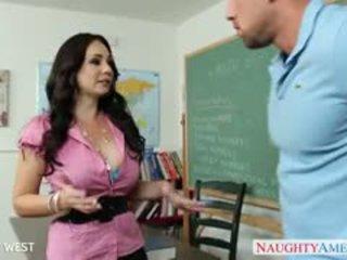 Brunete skolotāja holly west jāšanās jauns studente