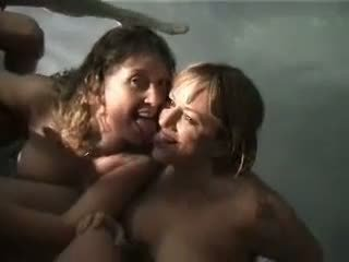 Stupid drunk girls giving head in the pool