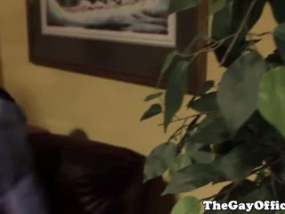 Gay office hunk jumping on boss dick