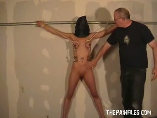 Hooded Tenderfoot Pain Joy And Oustanding Tittie Whipping Of Danii In Roped And Dungeon Punishment By Her Stern Master