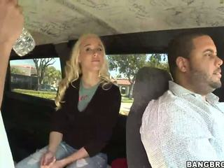 Hot young bitch gives amazing blowjob in the Bang Bus