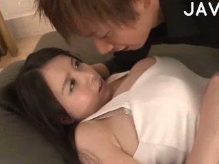 brunett, japansk, stora bröst