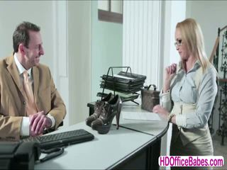 Horny blonde Czech babe Kathia Nobili fucked her hunk office mate