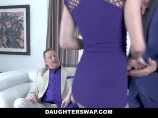 Daughterswap - Two Hot Slutty Daugthers Have Fun With Their Fathers Cock