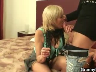Old prostitute sucks and rides his cock