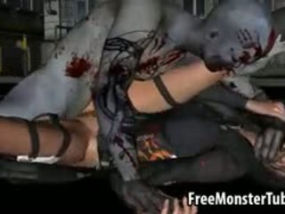 Foxy 3D Brunette Getting Fucked Hard By A Zombie