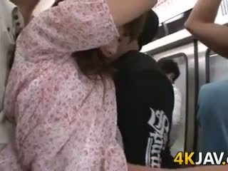 Japanese Chick Fingered In Public Train