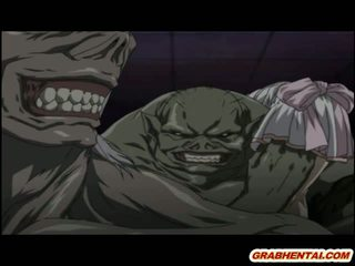 Hentai betrapt door tentacles en monsters brutally geneukt