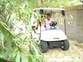 Screwed onto a golfs cart