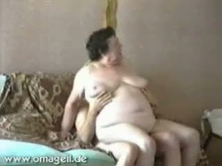 Fat Old Granny Rides On Old Cock Her Husband On The Couch