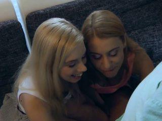Blond babes swap alt wichse nach oldyoung trio