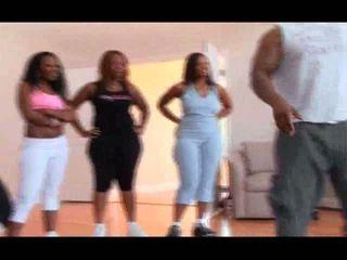 Three Black sluts taking a gym less
