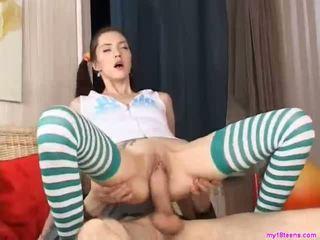 Teenie sucks huge cock in bedroom
