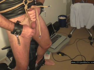 Solo Male Gagged Bound Rope CBT, Free HD Porn 9e